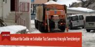 Göksun'da Cadde ve Sokaklar Tuz Savurma Aracıyla Temizleniyor