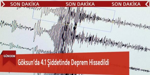 Göksun'da 4.1 Şiddetinde Deprem Hissedildi
