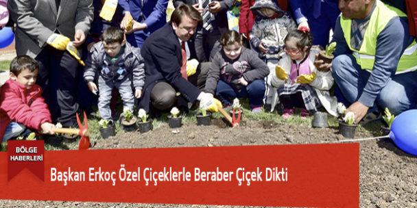 Başkan Erkoç Özel Çiçeklerle Beraber Çiçek Dikti
