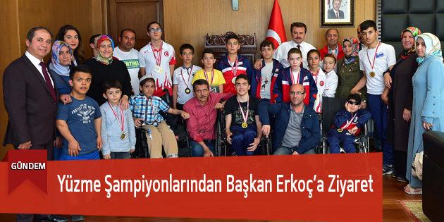 Yüzme Şampiyonlarından Başkan Erkoç'a Ziyaret