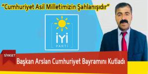 Başkan Arslan Cumhuriyet Bayramını Kutladı