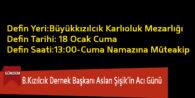 B.Kızılcık Dernek Başkanı Aslan Şişik'in Acı Günü
